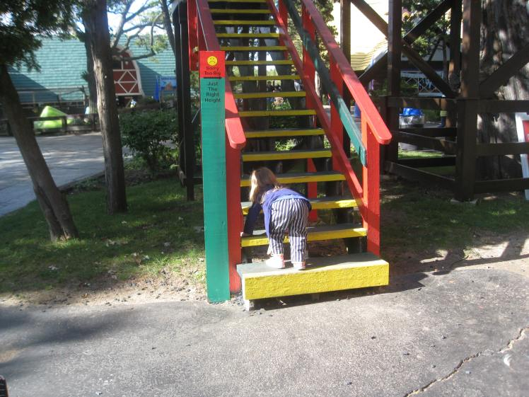 T climbing stairs to a slide